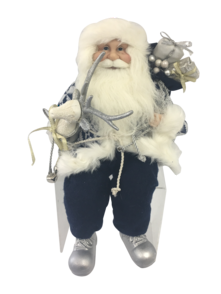40CM SITTING SANTA IN BLUE WHITE HOLDING A STICK AND GIFT BA