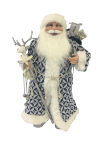 60CM STANDING SANTA IN BLUE WHITE HOLDING A STICK AND GIFT BAG