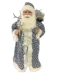 90CM STANDING SANTA IN BLUE WHITE HOLDING A STICK AND GIFT BAG