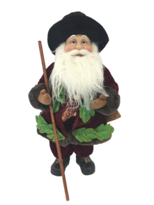 40CM STANDING SANTA IN FLORAL BURGUNDY GREEN WITH BAG OF GRAPES