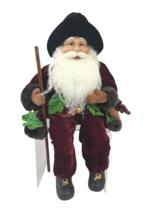 40CM SITTING SANTA IN FLORAL BURGUNDY GREEN WITH BAG OF GRAPES
