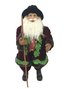 60CM STANDING SANTA IN FLORAL BURGUNDY GREEN WITH BAG OF GRAPES