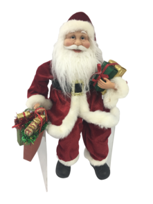 40CM SITTING SANTA IN RED WITH SHOPPING BAGS