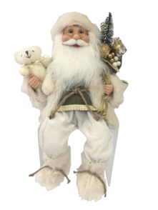 40CM SITTING SANTA IN IVORY