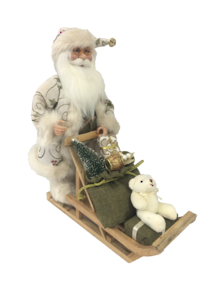 40CM SANTA IN IVORY PUSHING A CART