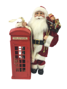 46CMH TRADITIONAL SANTA NEXT TO PHONE BOX, LED