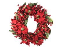 61CMD RED POINSETTIA, MAGNOLIA BERRY WREATH