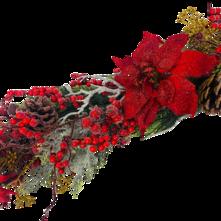 RED POINSETTIA/BEAD BERRY/CEDAR GARLAND