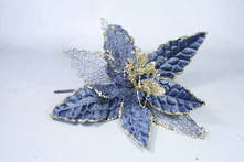 23CMD AGED BLUE VELVET GOLD GLITTER FLOWER (12)