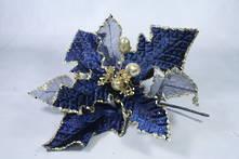30CMD RICH BLUE AND MESH GOLD GLITTER FLOWER (12)