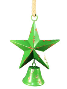 35CMH GREEN STAR WITH HANGING BELL