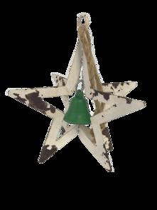 AGED WHITE METAL HANGING STAR