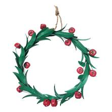 GREEN METAL RED BERRY WREATH