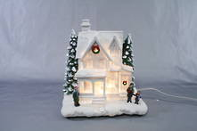 WHITE LIGHT UP CHRISTMAS HOUSE
