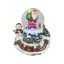 LED 12CMD GLOBE WITH SANTA HOLDING SACK & SNOWMAN LOOKING ON