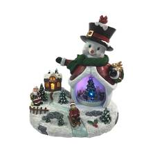 LED 25CMH SNOWMAN WITH ROTATING TREE INSET & CHILD SLEDDING, WHILE SANTA LOOKS ON
