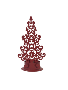 RED METAL STYLISED TREE CANDLE HOLDER (12)