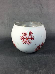 LARGE WHITE TEALIGHT WITH RED SNOWFLAKES (12)