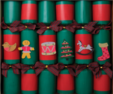 BOX6, 30CM RED AND GREEN KRAFT (EMPTY) CRACKERS (6)