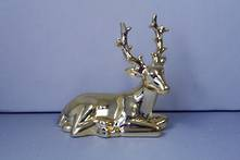 GOLD CERAMIC LYING DEER