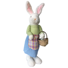 56CMH WHITE BUNNY BLUE DRESS STANDING WITH BASKET