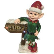64CMH BOY ELF WITH WELCOME BOARD LED & MUSIC