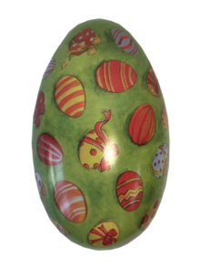 MEDIUM METAL EGG - GREEN WITH DECORATED EGGS (12)