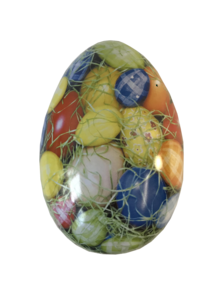 LARGE METAL EGG - MULTI COLOURED REAL EGGS (6)
