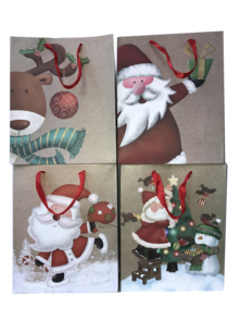 DOZEN, 4 ASSORTED, MEDIUM CARRY BAGS, NATURAL SANTA & REINDEER