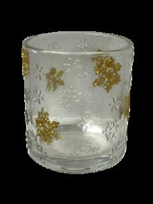 GOLD SNOWFLAKE VOTIVE HOLDER (6)