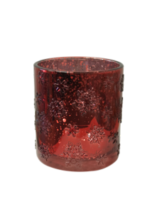 RED SNOWFLAKE SILVER INSIDE VOTIVE (6)