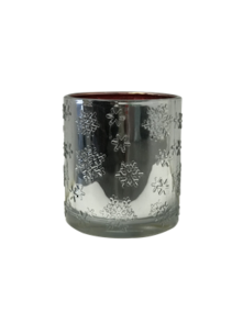 SILVER SNOWFLAKE RED INSIDE VOTIVE (6)