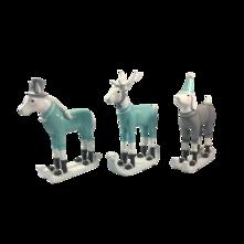 SET 3 HORSE, DOG, DEER ON SKIS
