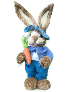 BOY STRAW BUNNY, BLUE SUIT, HOLDING CARROT