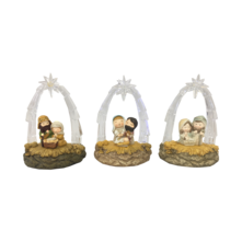 SET3,LED NATIVITIES WITH ACRYLIC STABLES