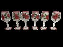 SET6 POINSETTIA RED WINE GLASS
