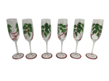 SET6 HOLLY GARLAND CHAMPAGNE GLASSES