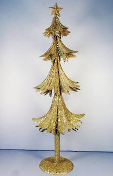 60CMH GOLD METAL GLITTER TREE
