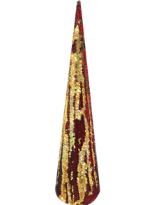 80CMH RED AND GOLD SEQUIN CONE