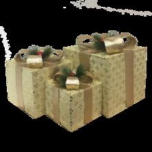 SET3 CREAM / CHAMPAGNE DECORATIVE GIFT BOXES