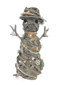 RATTAN GREY SNOWMAN WITH LIGHTS