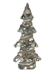 61CMH RATTAN GREY TREE WITH LIGHTS
