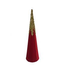 50CMH RED VELVET GOLD GLITTER CONE TREE