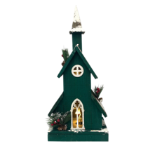 GREEN WOODEN BIRDHOUSE WITH LIGHT