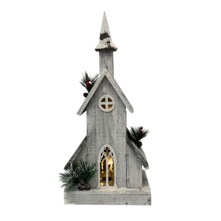 WHITE WOODEN BIRDHOUSE WITH LIGHT