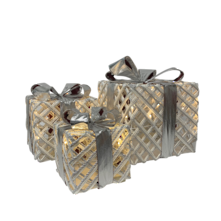 SET3, WHITE/SILVER GIFT BOXES WITH LIGHTS