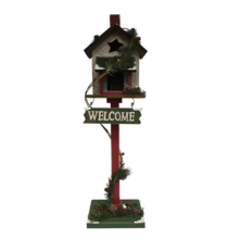 WELCOME BIRDHOUSE ON STAND