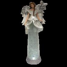 TALL WHITE SILVER ANGEL SNOWGLOBE