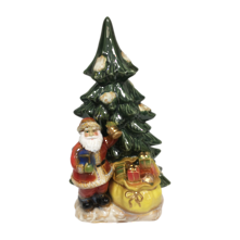 RUSTIC CERAMIC SANTA AND SACK BY TREE