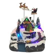 LED ANIMATED HOUSE WITH SLEIGH ABOVE